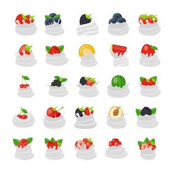 Iconos planos de crema de frutas