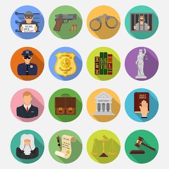 Iconos planos de crimen y castigo