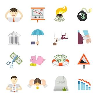 Iconos planos de crisis económica