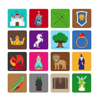 Iconos planos de cuento de hadas