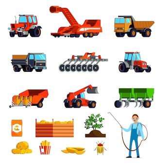 Iconos planos de cultivo de papa con plantas y tubérculos, control de plagas y vehículos agrícolas aislados