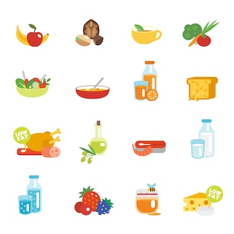 Iconos planos de alimentación saludable