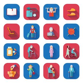 Iconos planos de estilo de vida senior