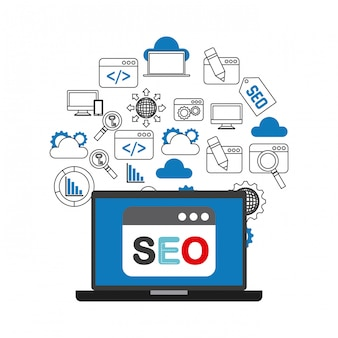 Iconos planos de optimización de motor de búsqueda