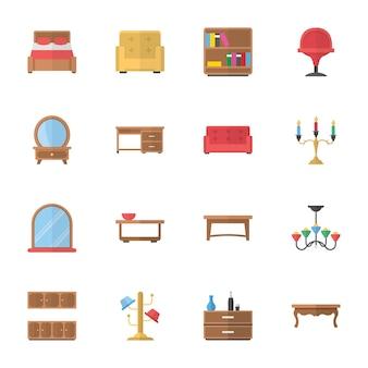 Iconos planos de decoración y muebles