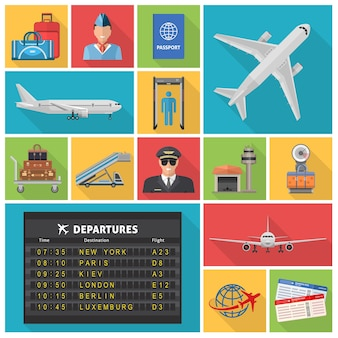 Iconos planos decorativos del aeropuerto con aviones, horarios de salidas, boletos de piloto, equipaje