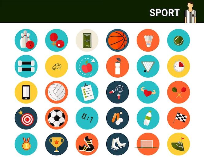 Iconos planos del concepto de deporte.