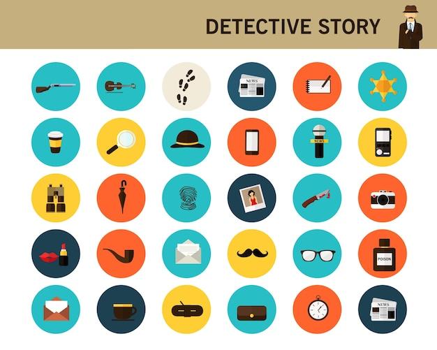 Iconos planos de detective historia concepto.