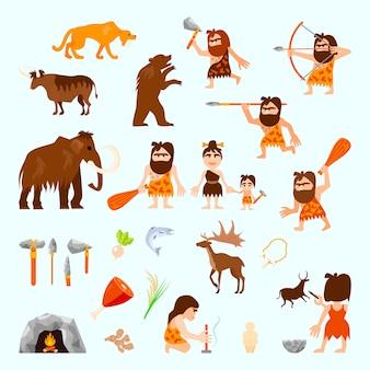 Iconos planos de la edad de piedra con herramientas de animales de las cavernas