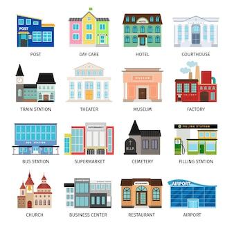 Iconos planos de edificios de la ciudad en blanco. guardería y hotel, juzgado y aeropuerto, estación de autobuses y centro de negocios. ilustración vectorial