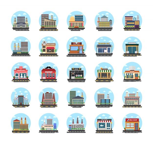 Iconos planos de edificios comerciales