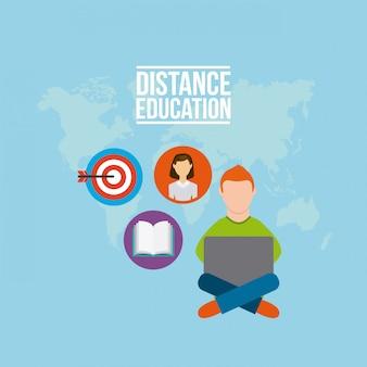 Iconos planos de educación a distancia