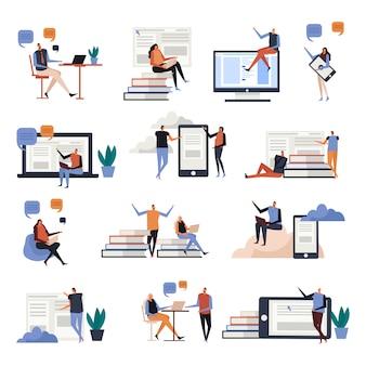 Iconos planos de educación en línea