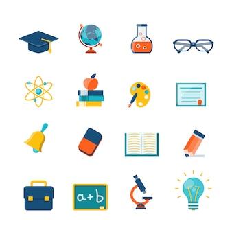 Iconos planos de educación