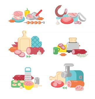 Iconos planos del ejemplo de la preparación de comida de los productos de carne.
