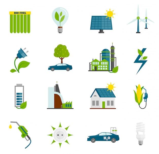 Iconos planos de energía ecológica