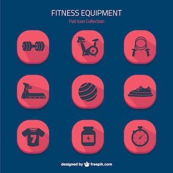Iconos planos de equipamiento de fitnes