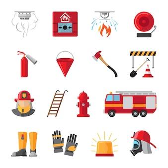 Iconos planos de equipos contra incendios y de seguridad contra incendios.