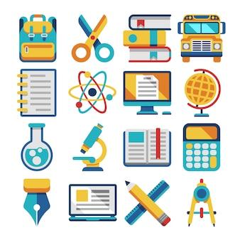 Iconos planos de escuela y educación