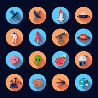 Iconos planos del espacio con meteorito cohete nave espacial satélite aislado vector ilustración