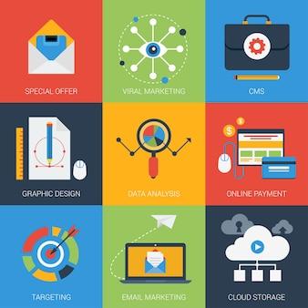 Los iconos planos establecen la campaña de publicidad digital de análisis de datos de marketing viral de correo electrónico