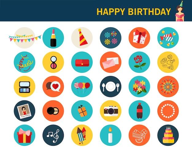 Iconos planos de feliz cumpleaños concepto.
