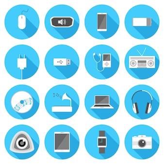 Iconos planos de gadget