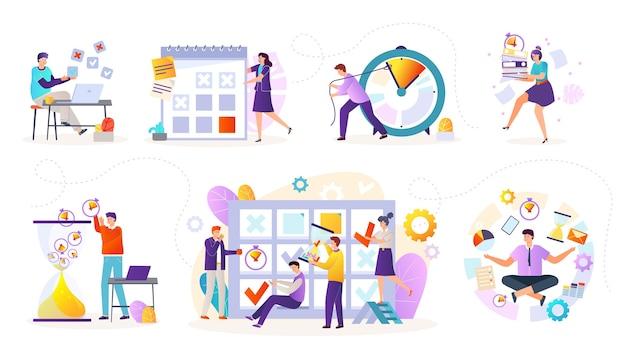 Iconos planos de gestión del tiempo con ilustraciones de programación de tareas