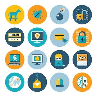 Iconos planos hacker. insignias en círculos de colores sobre un fondo blanco. ilustración vectorial