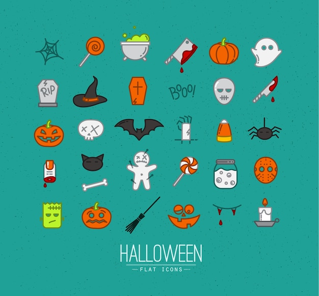 Iconos planos de halloween turquesa