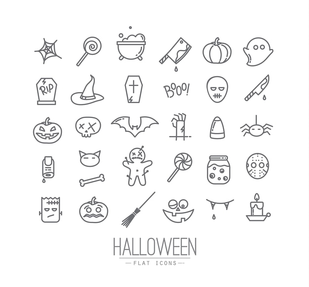 Iconos planos de halloween