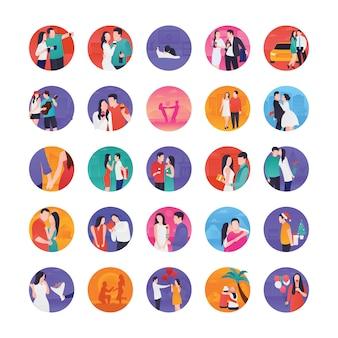 Iconos planos de historias de romance