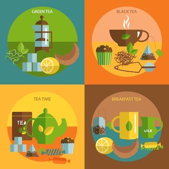 Los iconos planos de la hora del té composición cuadrada