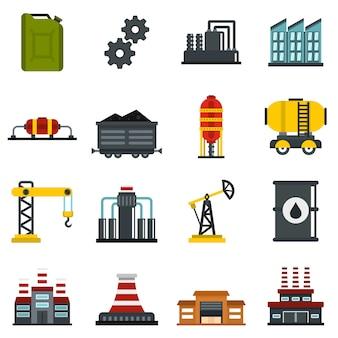 Iconos planos de la industria