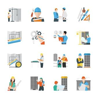 Iconos planos de ingeniería civil