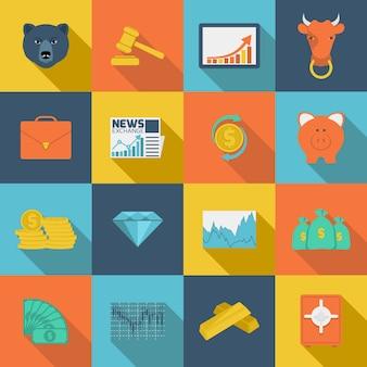 Iconos planos de intercambio de finanzas