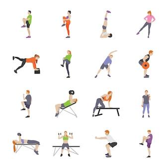 Iconos planos de juegos de entrenamiento y fitness