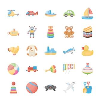 Iconos planos de juguetes