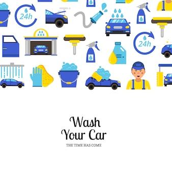 Con iconos planos de lavado de autos y lugar para texto