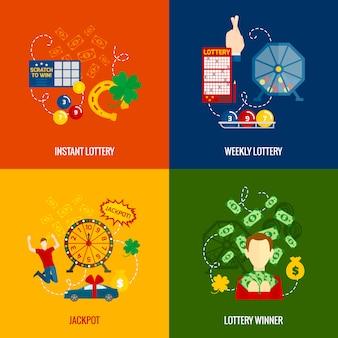 Iconos planos de loteria