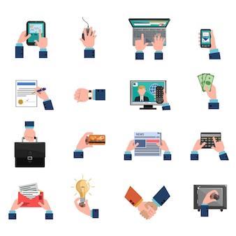 Iconos planos de manos de negocios conjunto