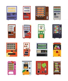 Iconos planos de máquinas expendedoras