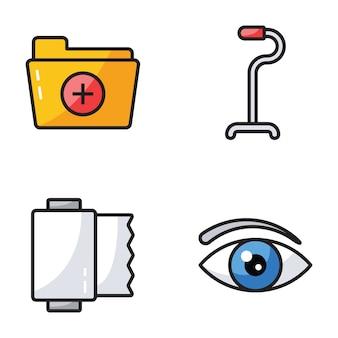 Iconos planos de medicación