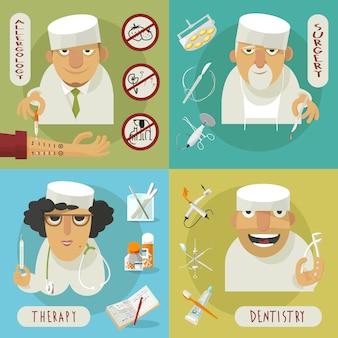 Iconos planos del médico medicina
