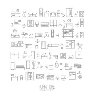 Iconos planos de muebles gris