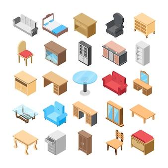 Iconos planos de muebles