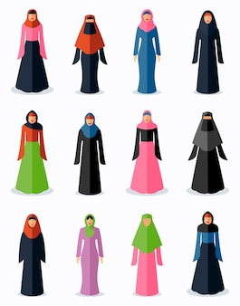 Iconos planos de mujer musulmana. cultura tradicional femenina, religión árabe del islam, ilustración vectorial