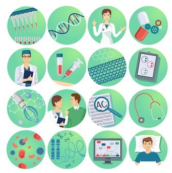 Iconos planos de nanotecnología con microchips de científicos y medicamentos.