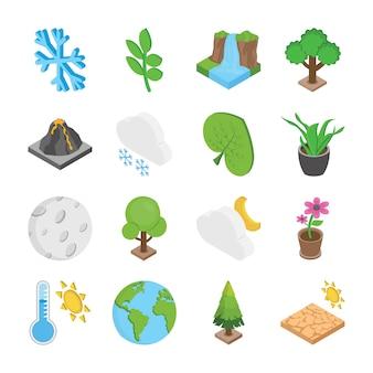 Iconos planos de naturaleza y medio ambiente