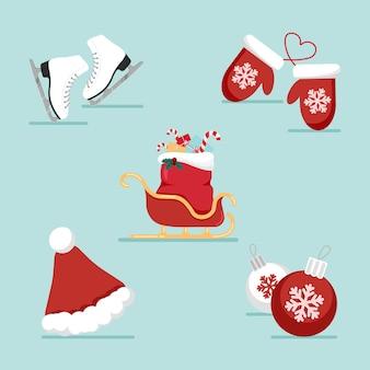 Iconos planos de navidad y año nuevo con artículos de vacaciones. gorro de papá noel y trineo, patines para hielo, guantes.